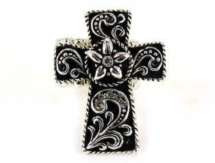 Cross Magnetic Veil Pendant - Crystal Accents