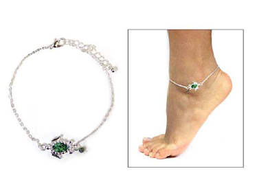 Fashion Turtle Beaded Anklet Green