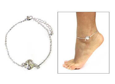 Fashion Sand Dollar Beaded Anklet Clear