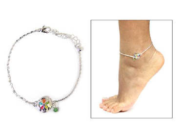Fashion Sand Dollar Beaded Anklet Multicolored