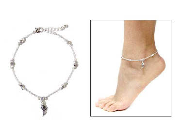 Fashion Angel Wing Beaded Anklet Clear