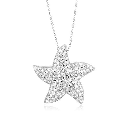 925 - Sterling - Starfish Medium Wide Pendant