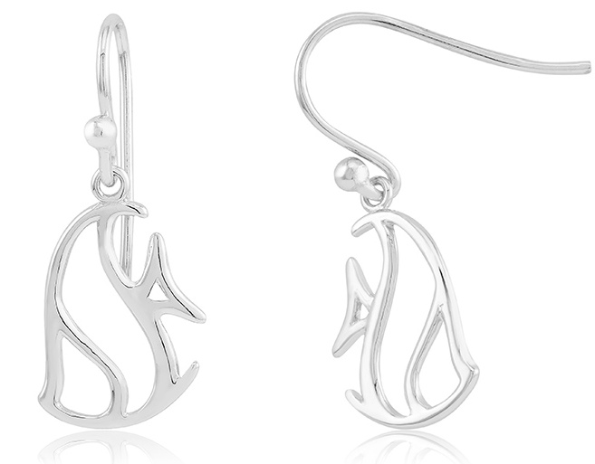 925 - Sterling - Tropical Fish Rhodium Plated Earrings