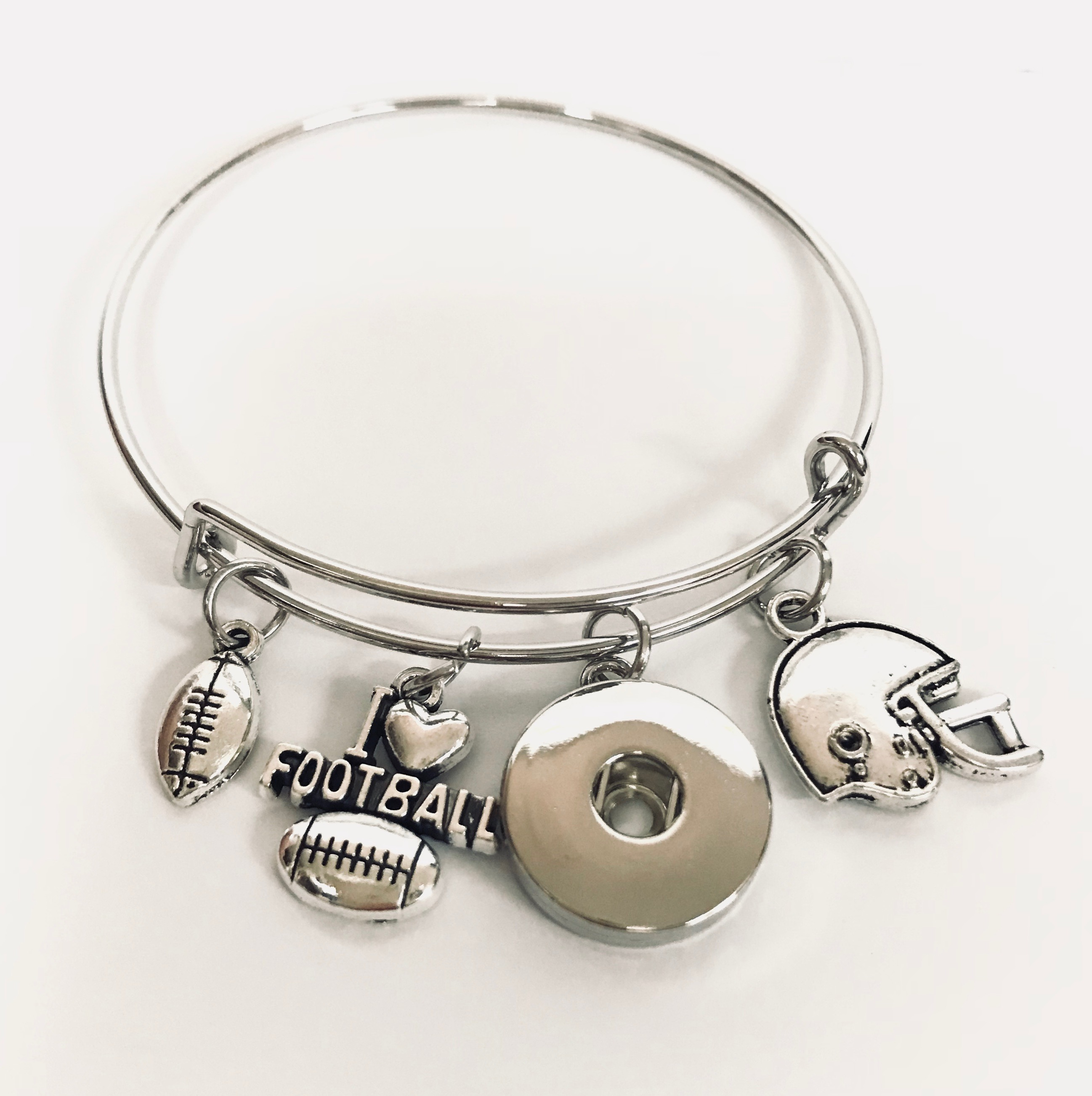 Snap Jewelry Wire Expandable Bangle - Football