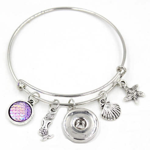Snap Jewelry Wire Expandable Bangle - Mermaid, Seashell, &...