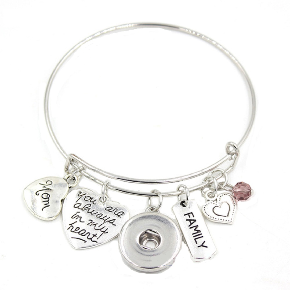 Snap Jewelry Wire Expandable Bangle - Mom