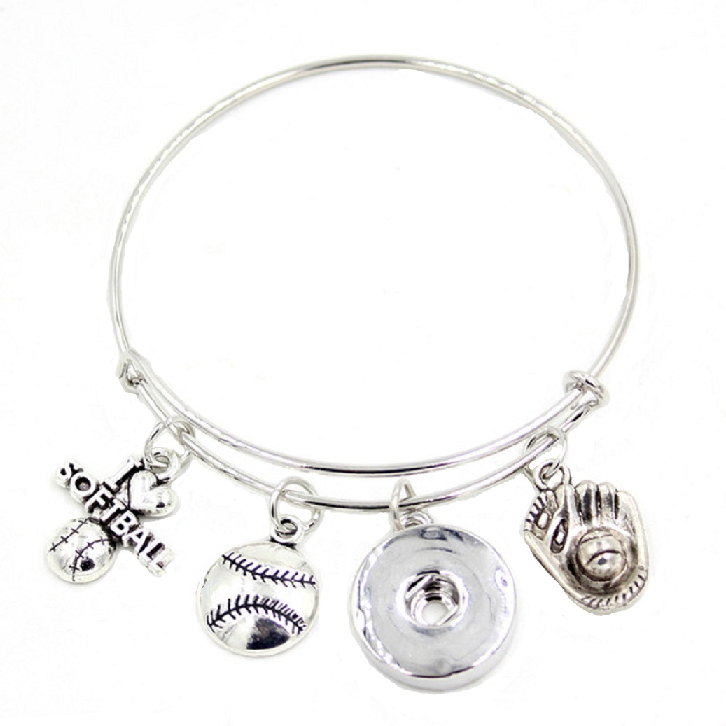 Snap Jewelry Wire Expandable Bangle - Softball Sports