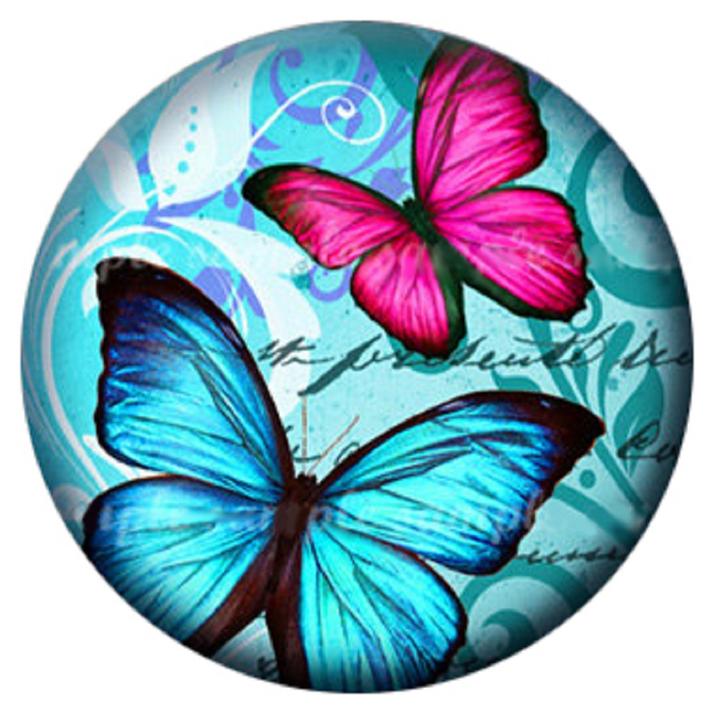 Snap Jewelry Enamel Ceramic - Blue & Pink Butterfly