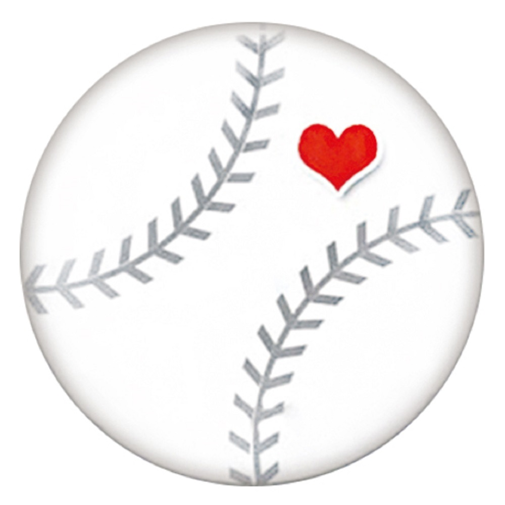 "Snap Jewelry Enamel Ceramic - ""Heart"" Baseball"