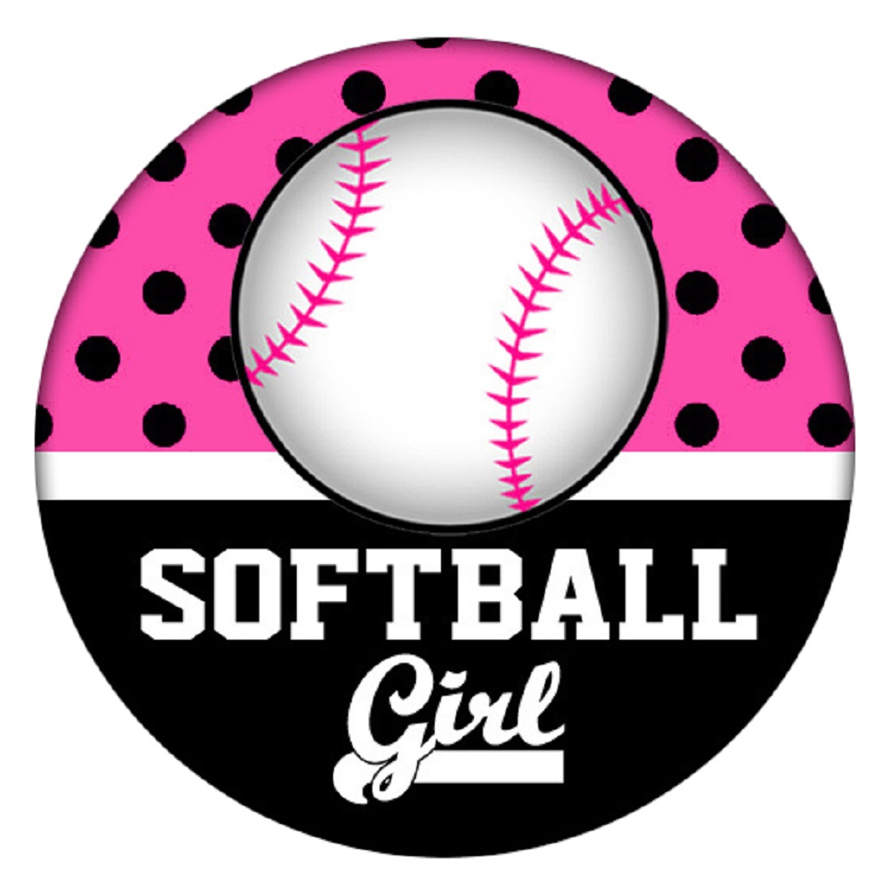 Snap Jewelry Enamel Ceramic - Sports Softball Girl