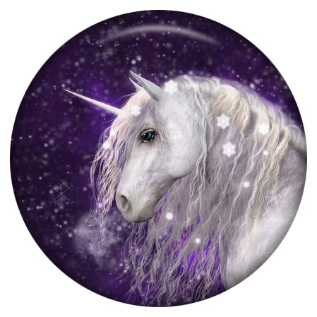 Snap Jewelry Enamel Ceramic - Unicorn Purple & White