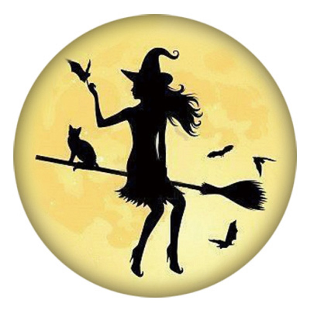 Snap Jewelry Enamel Ceramic - Witch on a Broom in the Moon