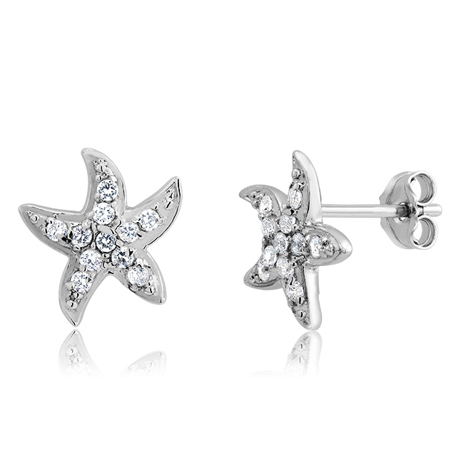 925 - Sterling - Starfish Clear CZ Earrings