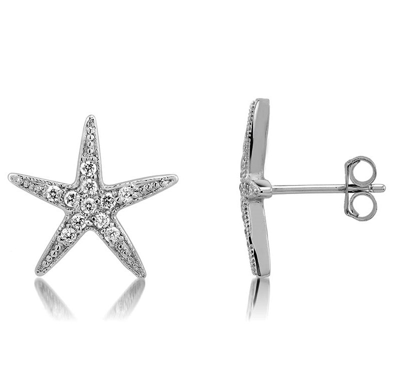 925 - Sterling - Star Clear CZ Pave Earrings