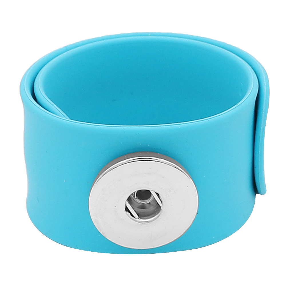 Snap Jewelry Bracelet Silicone Slap-On Style for all Ages Blue
