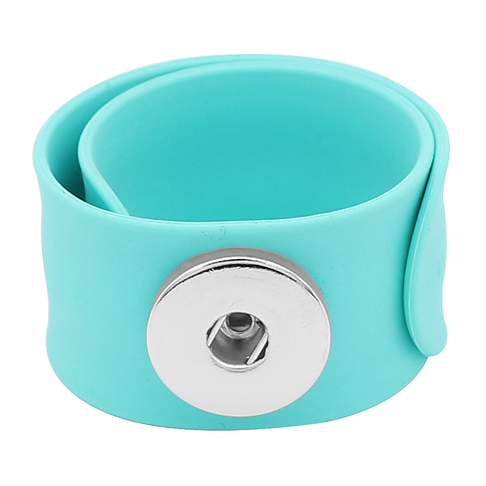 Snap Jewelry Bracelet Silicone Slap-On Style for all Ages Teal