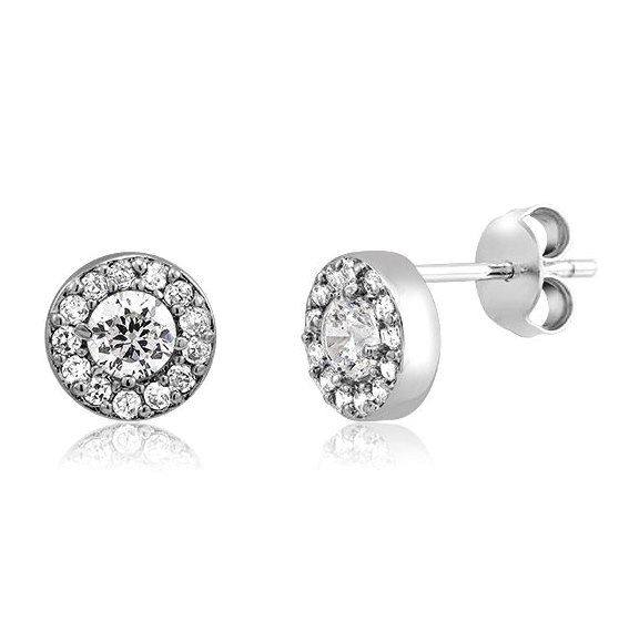 925 - Sterling - Round 4.2 x 8mm Clear CZ Earrings