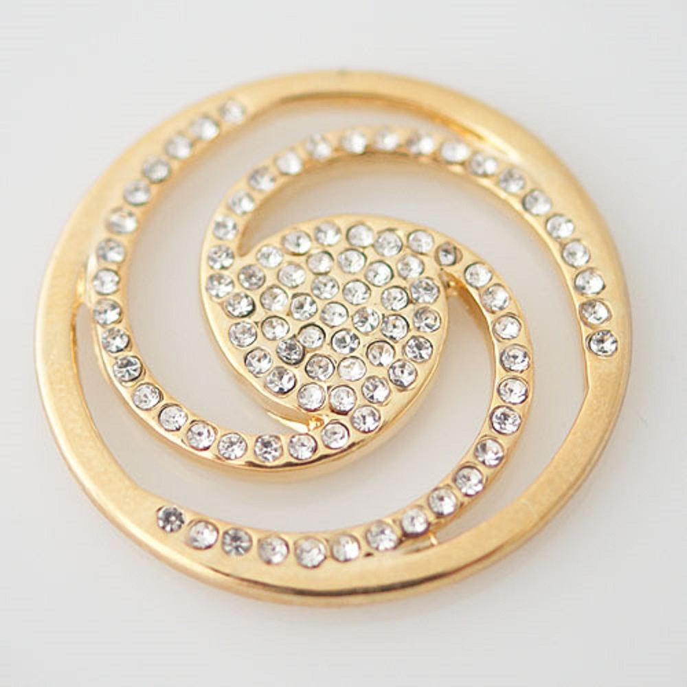32mm Coin - Rhinestones Spiral Gold Tone