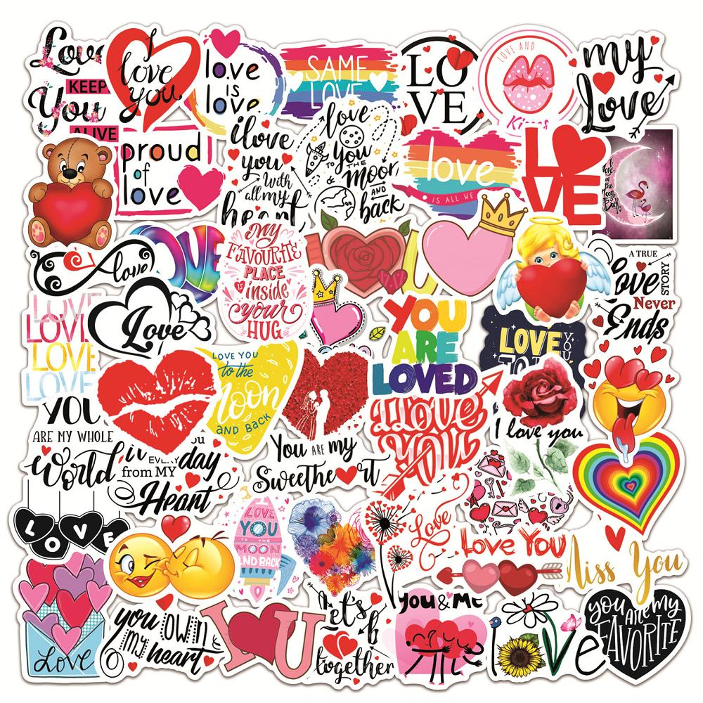 50 pcs Waterproof Sticker You Are Loved & Hearts