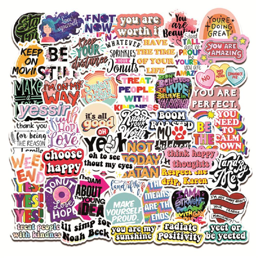 50 pcs Waterproof Sticker Motivational Sayings Inspiration Color