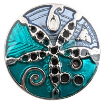 Snap Jewelry Enamel Sand Dollar Blue