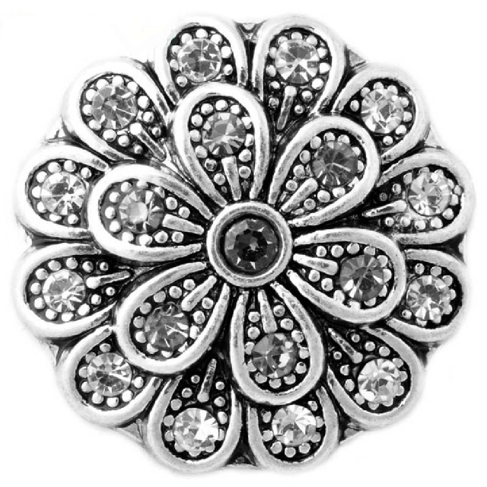 Snap Jewelry Rhinestone - Flower - Gray