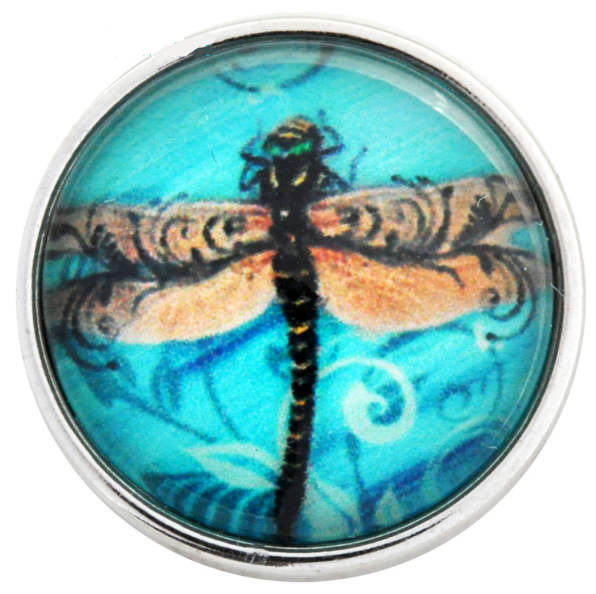 Snap Glass Jewelry - Dragonfly in Blue Sky