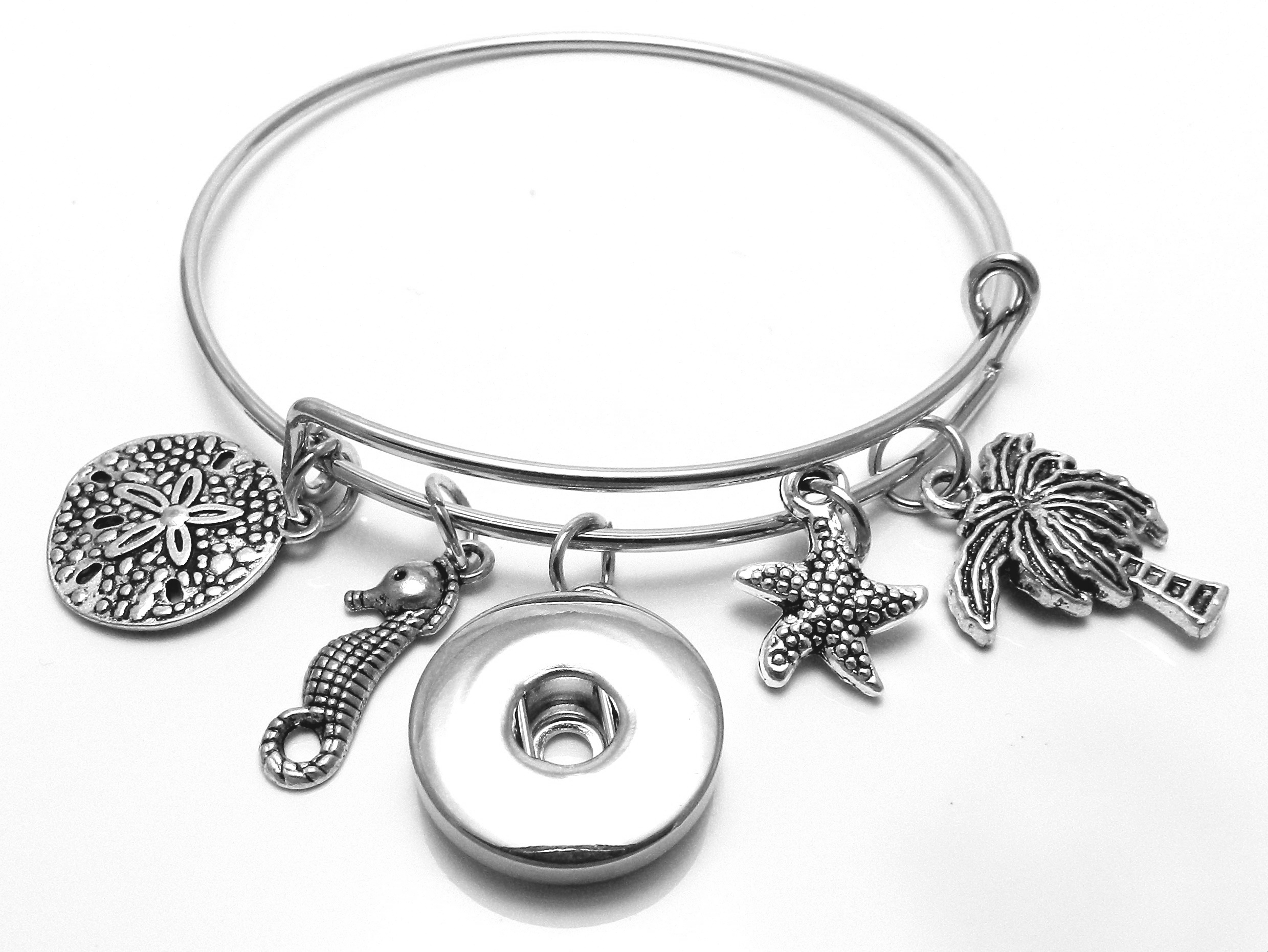 Snap Jewelry Wire Expandable Bangle - Sand Dollar, Palm Tree...