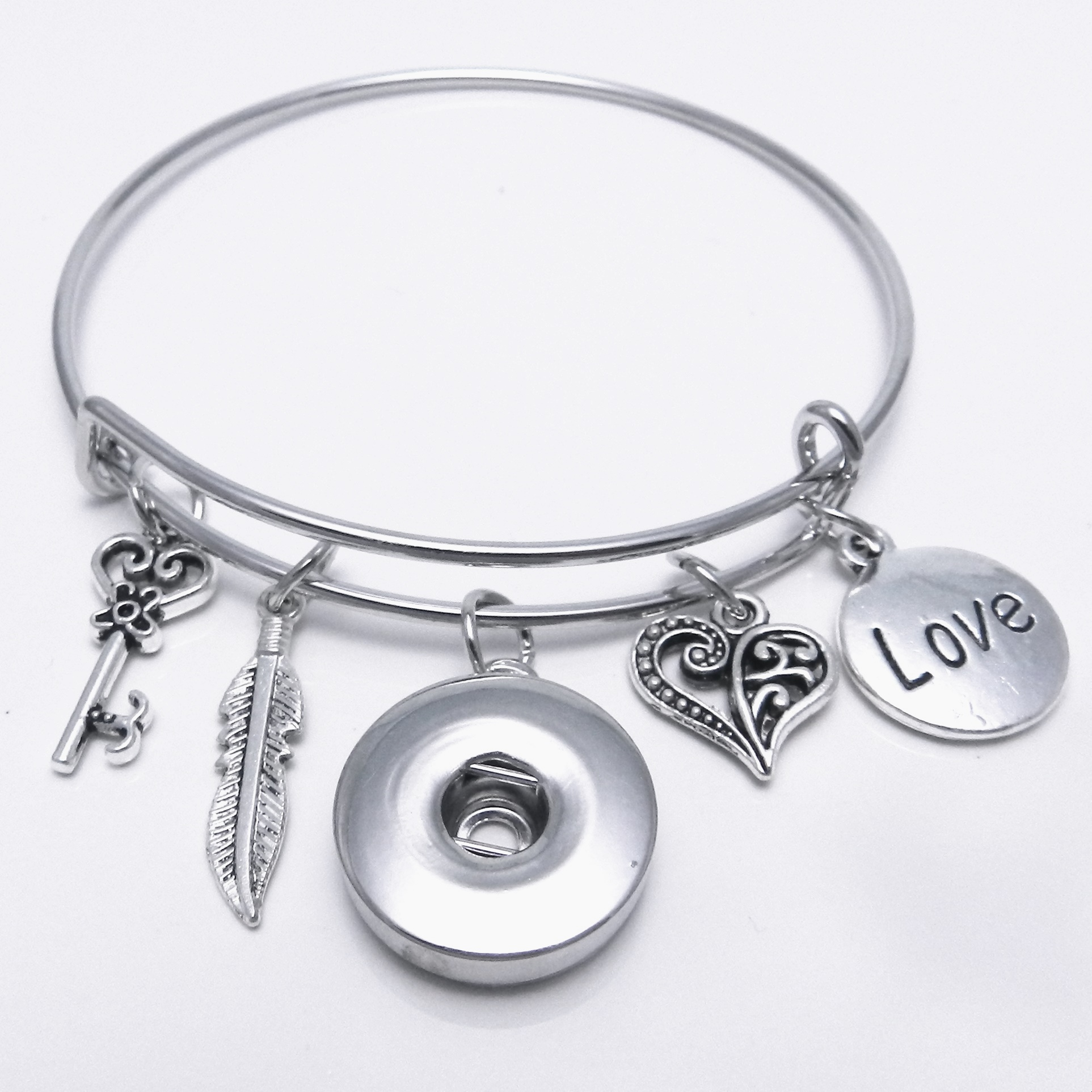 Snap Jewelry Wire Expandable Bangle - Love, Feather, Key & Heart