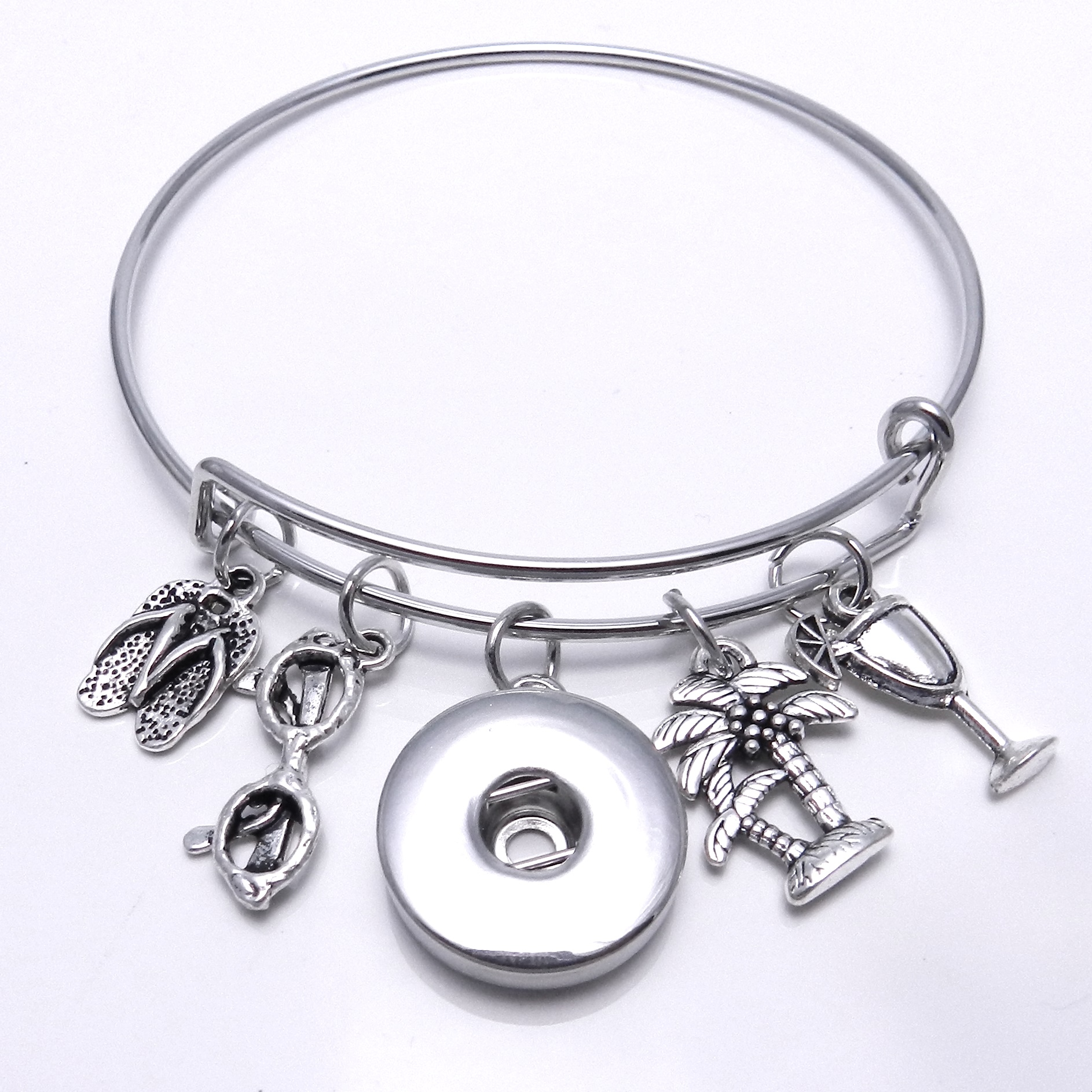 Snap Jewelry Wire Expandable Bangle - Flip Flop, Palm Tree,&...