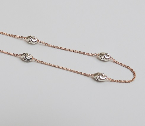 925 Sterling Silver Moon Link Chain - Rose Gold 28""