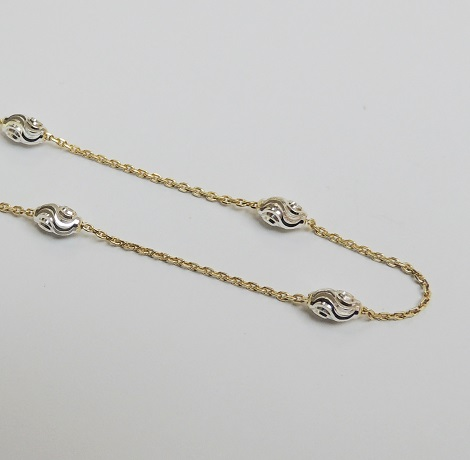 925 Sterling Silver Moon Link Chain - Gold 18""