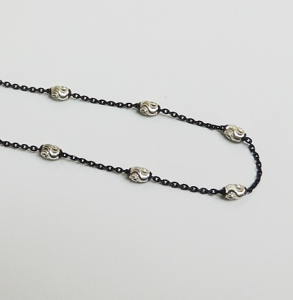 925 Sterling Silver Moon Link Chain - Black 24""