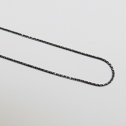 925 Sterling Silver Diamond Cut Snake - Black 20""