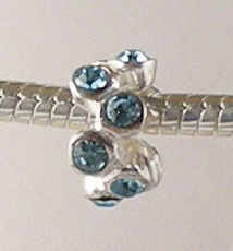 Charm 925 - Crystals - Staggared - Aquamarine