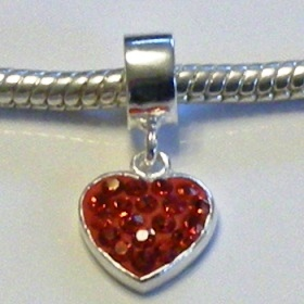 charm 925 - Pave Heart Drop - Red