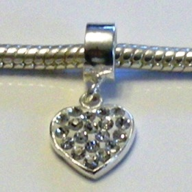 Charm 925 - Pave Heart Drop - Clear