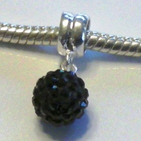 Charm 925 - Pave Ball Drop - Black