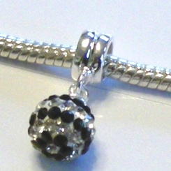 Charm 925 - Pave Ball Drop - Black & White