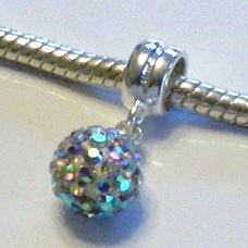 Charm 925 - Pave Ball Drop - Clear