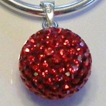 Charm 925 - Pave Necklace Pendant - Ball - Red