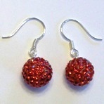 charm 925 - Pave Ball Earrings - Red