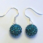 Charm 925 - Pave Ball Earrings - Teal