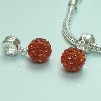 Charm 925 - Pave Ball Drop - Red
