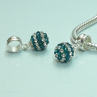 Charm 925 - Pave Ball Drop - Teal & White Lines