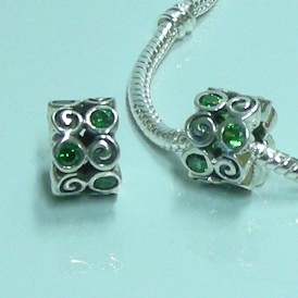 Charm 925 CZ Stone - Rondelle - Double Spiral - Green