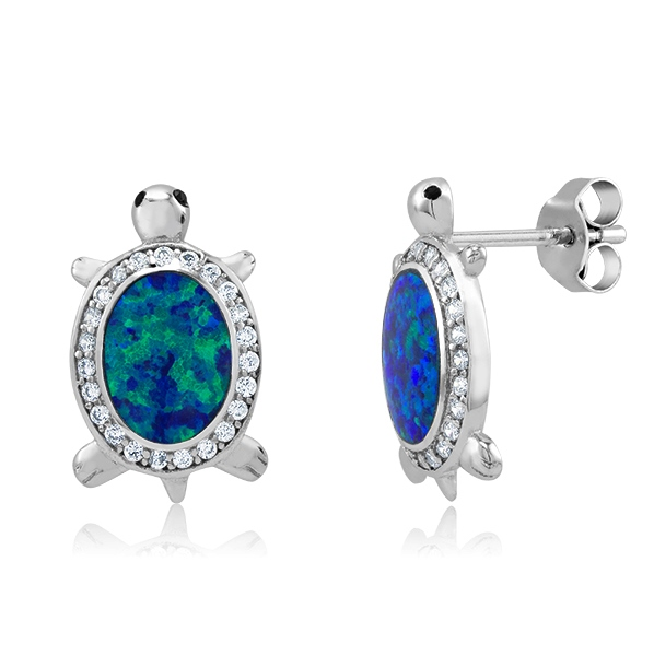 925 - Sterling - Turtle Opal & CZ Stud Earrings