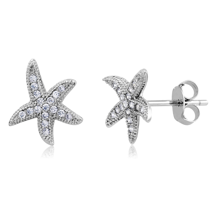 925 - Sterling - Starfish Silver & CZ Stud Earrings