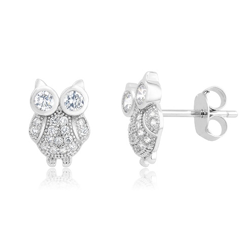 925 - Sterling - Owl Stud Earrings