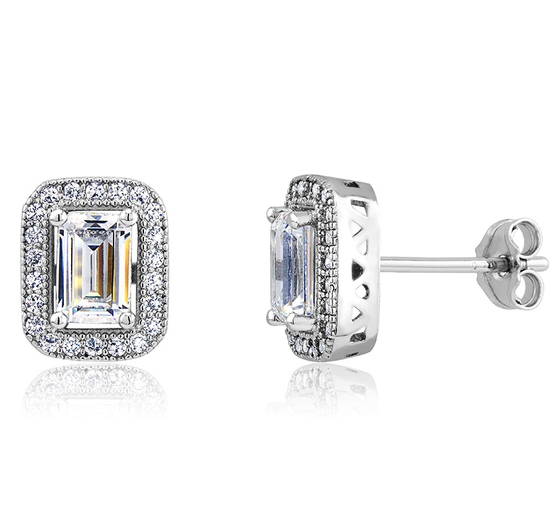 925 - Sterling - OCTS 4*6mm Center CZ Stud Earrings